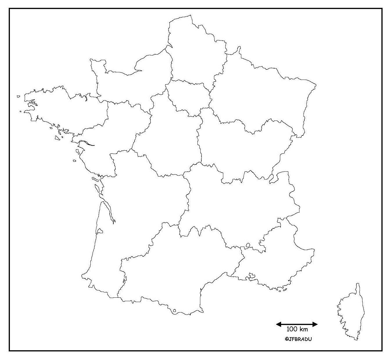 Carte Des Régions De France Sans Les Noms | popkensburg